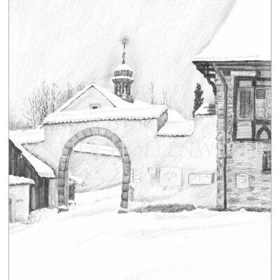 Kloster Fahr Scheune im Schnee